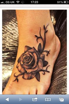 Rose foot tattoo With a water lily instead