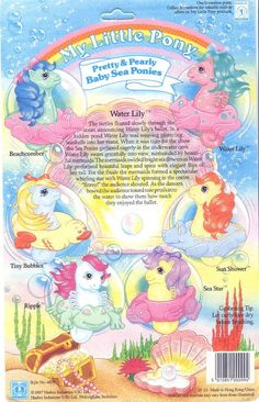 Vintage My Little Pony - Pretty & Pearly Baby Sea Ponies - Water Lily