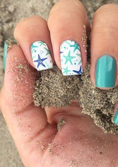 From born pretty ocean starfish nail art water decal nail design assessment Cute Acrylic Nails, Cute Nail Art, Cute Nails, Nail Art Toes, Nail Nail, Beach Nail Art, Beach Nail Designs, Beach Toe Nails, Nautical Nail Designs