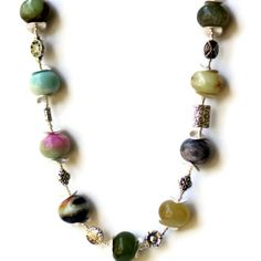 Chunky Multicolor Natural Stones Statement Necklace by ALFAdesigns, $79.99