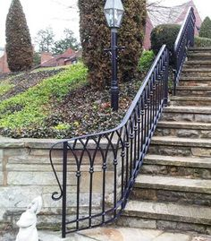 Gothic Arch Custom Forged Steel Railing traditional staircase Wrought Iron Porch Railings, Porch Handrails, Exterior Stair Railing, Outdoor Stair Railing, Wrought Iron Staircase, Wrought Iron Stair Railing, Steel Railing, Metal Railings, Art Deco Door