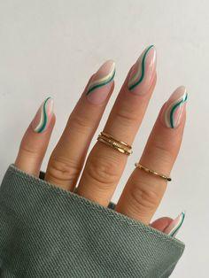 Chic Nails, Stylish Nails, Swag Nails, Green Nail Designs, Almond Nails Designs, Dark Nail Designs, Chic Nail Designs, Short Nail Designs, Almond Acrylic Nails