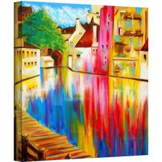 ArtWall Susi Franco River Through Treviso Gallery-wrapped Canvas, Size: 36 x 36, Pink