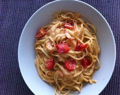 Recept voor Linguini kip of scampi, rode pesto, mascarpone | Solo Open Kitchen