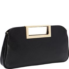872cda9c36b2ad Michael Kors Black Berkley Clutch Purse Featured in black leather Blocked  detail on top with Michael