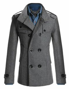 Amazon.com: Doublju Mens Wool PEA Coat in 4 Styles: Clothing