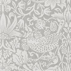 Pure Strawberry Thief Wallpaper Originally a fabric designed by William Morris in 1883, Pure Strawberry Thief wallpaper features a floral and bird design shown in off-white and metallic silver, finished with beading for a glamorous touch.