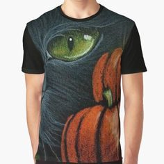 HALLOWEEN CAT • Millions of unique designs by independent artists. Find your thing. Halloween Cat, Female Models, Vivid Colors, Artists, Cats, Unique, Mens Tops, T Shirt, How To Wear