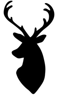 Deer Head Silhouette - idea: cut this out in white and sew to green or red material in an embroidery hoop. do multiple versions of deer heads, reindeer in silhouette and group hoops (in odd numbers, perhaps on wall display Hirsch Silhouette, Deer Head Silhouette, Reindeer Silhouette, Silhouette Vinyl, Deer Silhouette Printable, Silhouette Pictures, Silhouette Vector, Noel Christmas, Christmas Crafts