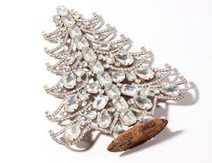 "10.5"" Vintage Czech handmade table top crystal glass rhinestone Christmas tree #HandmadeChristmastreeornament"