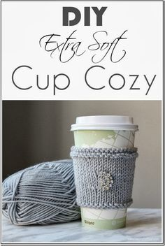 Make this quick and easy DIY Extra Soft Knitted Cup Cozy! This is a beautiful gift idea and fun yarn craft to make! See the knitting tutorial and supply list! Knitting Projects, Crochet Projects, Knitting Patterns, Craft Projects, Sewing Projects, Cowl Patterns, Knitting Tutorials, Loom Knitting, Knitting Needles
