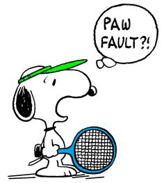 Snoopy Misses a Crucial Serve on the Tennis Court