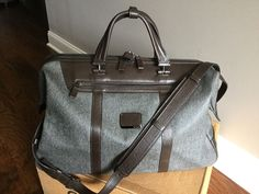 Tumi Astor San Remo Earl Grey Brown Leather Duffel Carry on 33149 $795 | eBay