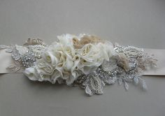 Wedding bridal sash belt Vintage Neutral Ivory by LeFlowers, $162.00