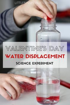 Simple Valentines Day water displacement science experiment for kids! Simple science that is quick and fun for kindergarten and grade school age kids. Great holiday STEM activity and Valentine's Day activity with plastic hearts.