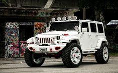 Jeep Wrangler, white SUV, tuning Wrangler, American cars, Jeep