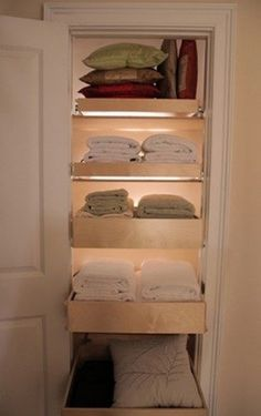Installing drawers instead of shelves in linen closets - brilliant!  Wish i had this. Closet Drawers, Pull Out Drawers, Sliding Drawers, Closet Shelves, Sliding Shelves, Closet Storage, Drawer Shelves, Linen Closet Shelving, Rolling Drawers