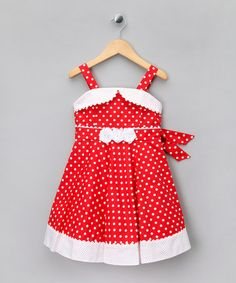 Take a look at this Red Polka Dot Rosette A-Line Dress - Girls by Matilda's Wardrobe on #zulily today!