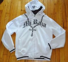 NWT $89 Victorious MI RAZA FIEL White Jacket Hoodie OUR LADY GUADALUPE Rosary M #MIRAZAFIEL #BasicJacket