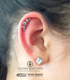 Nancy saw the picture we had posted of our latest cluster order and quickly called and picked out which one she had to have.  A couple days later she drove out to Monterey and got her helix pierced with a classy all CZ anatometal cluster.  Thanks so much, Nancy!