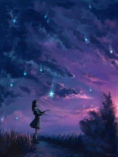 56 Ideas beautiful art inspiration magic stars for 2019 Galaxy Wallpaper, Nature Wallpaper, Cute Wallpaper Backgrounds, Wallpaper Desktop, Black Wallpaper, Art Anime Fille, Anime Art Girl, Digital Foto, Star Art