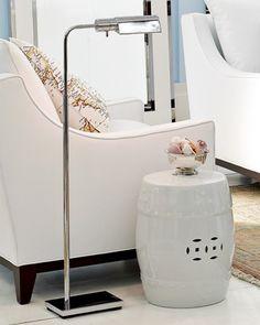 pharmacy style floor lamp + garden stool + white