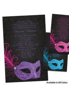 Invitaciones de Quinceanera con Mascaras