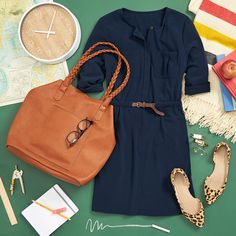 Pop quiz! What's versatile, classic & flattering? An A-line dress in a neutral color that can be worn year-round. Pair it with a cognac carryall & a leopard-print flat for a classroom-approved look. Schedule a Fix to receive personalized style tips for your lifestyle!