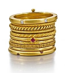 WENDY BRANDES Siobhan Perma-Stacked Ring: 18K yellow gold with satin finish. Ruby, pink sapphires, diamonds.