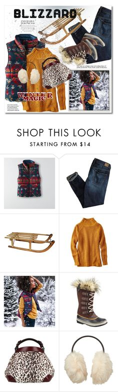 """Brrrrr! Winter Blizzard"" by svijetlana ❤ liked on Polyvore featuring American Eagle Outfitters, SOREL, Caroline De Marchi, Uniqlo, polyvoreeditorial and blizzard"