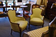 Furniture - Bernardi's Antiques - Toronto | Pair of Down-filled Berger Chairs - SOLD
