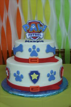 First Birthday cake - Paw Patrol.  Iced with buttercream, decoration in fondant
