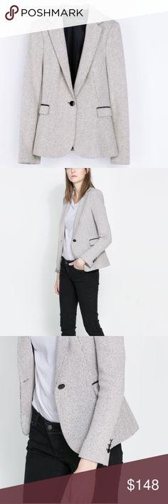 Zara Herringbone Leather Detail Blazer Size Small Worn once mint condition 👌🏽 Zara Jackets & Coats