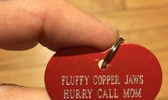 Fluffy copper jaws heart shaped name tag. This will have to do until his other fancier one comes 😁🐕