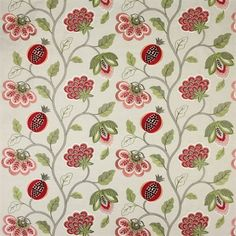 Paradise Garden - Colefax and Fowler Batik Pattern, Red Pattern, Hall Curtains, Paradise Garden, Cupboard Doors, Printing On Fabric, Best Gifts, Colours, Quilts
