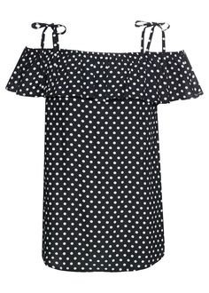 Csíkos kármen blúz • fekete/fehér pöttyös • bonprix áruház Short Sleeve Dresses, Dresses With Sleeves, Flirt, Polka Dot Top, Bikinis, Tops, Women, Style, Products