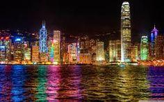 Hong Kong's Skyline in Hong Kong, China City Lights At Night, Night City, Kit Pintura, Hong Kong Night, Hongkong, City Wallpaper, Computer Wallpaper, 1080p Wallpaper, World Cities