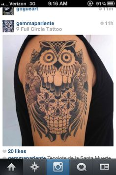 Owl/ sugar skull tattoo by Gemma Pariente out of Full Circle tattoo SD, CA