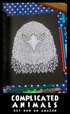 Eagle - Image from Complicated Animals - A Mixed Menagerie Colouring Book - Illustrated by Antony Briggs - UK link: http://amzn.to/2aeY18T USA link:http://amzn.to/2aeXS5B
