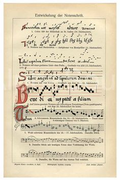 12x18 reproduction of one an antique German musical notation prints. $12