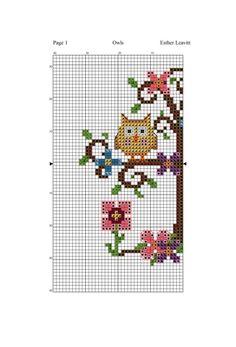 Country Owls 2 of 4 Cross Stitch Owl, Cross Stitch Bookmarks, Simple Cross Stitch, Cross Stitch Samplers, Cross Stitching, Cross Stitch Embroidery, Owl Patterns, Beading Patterns, Cross Stitch Silhouette