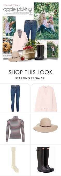 """""""Harvest Time: Apple Picking"""" by thewondersoffashion ❤ liked on Polyvore featuring RE/DONE, Acne Studios, Levi's, Bloomingville, Halogen, HUE and Hunter"""