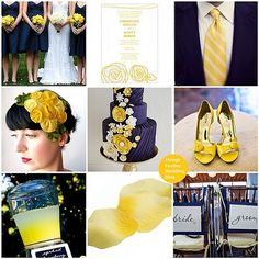 This wedding theme features Pantone colors Sodalite Blue & Solar Power (Navy & Yellow)