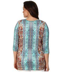 Karen Kane Plus Size Fashion Plus Size Baja Tee Print available from Zappos #karenkane #multicolor #turquoise #blue #baja #print #tee #shirt #plus_size_fashion #zappos