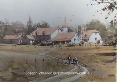 Joseph Zbukvic, Red Hill Gallery, Brisbane. Watercolour Painting, 'Going Home Dordogne'. redhillgallery.com.au