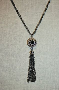 Handmade Tassel Necklace Black Tassel Necklace by GnidGnadDesigns