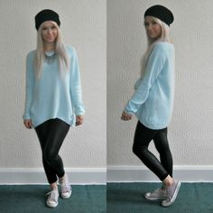 Pastel mint jumper, leather leggings, a beanie and come Converse make this the perfect winter outfit <3