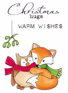 Picture of Marianne Design Stamp Elines Christmas Hugs Vintage Christmas Cards, Christmas Images, Christmas Art, Christmas Wishes, Christmas Holidays, Fox Drawing, Punch Art Cards, Christmas Sentiments, Tampons Transparents