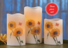 LED Sunflower Flameless Candles - Set of 3