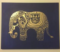 Customizable! Boho inspired Elephant. Navy acrylic paint background with metallic Gold paint used to hand-draw the elephant. Beautiful piece would make a great